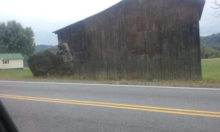 This stands on Barnrock Road. In reality, I'm sure the stone came first. To a Fringe Hiker, I'd count on the barn coming first and the stone coming in rather violently.